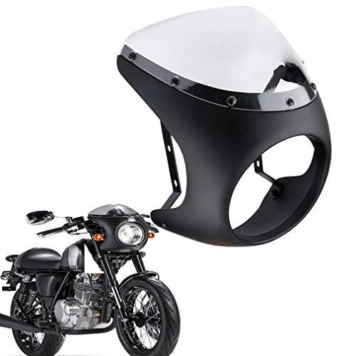 Qlhshop Motorcycle 7' Headlight Fairing Screen & Clear Retro Cafe Racer Style Universal Screen Fit 7 Inch Headlight Windshield (Black With Clear Lens)