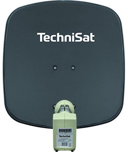 TechniSat DIGIDISH 45 – Satelliten-Schüssel für 2 Teilnehmer (45 cm kleine Sat Anlage - Komplettset mit Wandhalterung und Universal Twin-LNB) grau