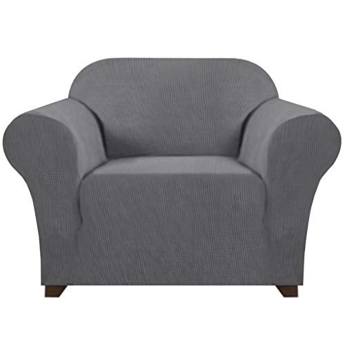Soft Spandex Chair Cover 1 Piece Furniture Protector Lycra Jacquard Small Checks Sofa Cover for Living Room 1 Seat Cushion Couch Cover Slipcover with Elastic Bottom (1 Seater, Charcoal Gray)