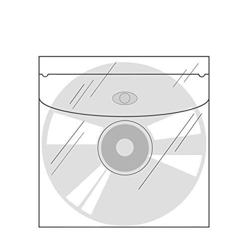CD-Taschen mit Klappe selbstklebend | Transparent | Quadratisch | 20 oder 100 Stück | CD-Hüllen zum Einkleben | Selbstklebende Hüllen für CD, DVD, Blu-ray / 20 Stück