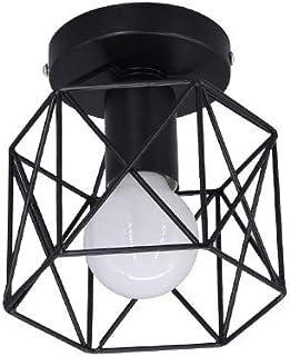 Luz de techo retro Pantalla de lámpara de hierro negro Industrial Vintage Accesorio colgante Iluminación colgante Jaula de metal cuadrada