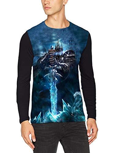 Warcraft T-Shirt Trendy Langarm T-Shirt Leichte Slim Active Langarm TOP Lose Baumwolle Langarm Tshirt Sporttraining Langarm T Shirt Herren Luftreiniger Langarm Top Männer (Color : A04, Size : L)