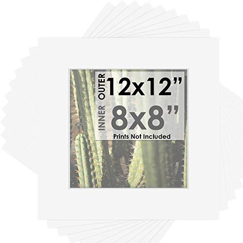 Mat Board Center, Pack of 10, 12x12 for 8x8 White Color Mats - Acid Free, 4-ply Thickness, White Core - for Pictures, Photos, Framing