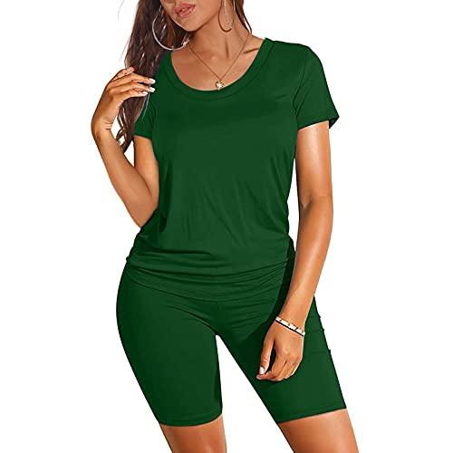 VESNIBA Conjunto de ropa deportiva para mujer, chándal de dos piezas, para el tiempo libre, fitness, pantalones cortos, ropa de calle verde S