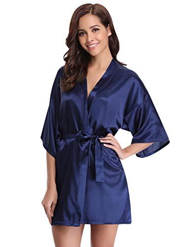 Abollria Donna Vestaglia Sposa Scollo a V in Raso Vestaglia da Donna Pigiama Kimono da Donna per Nozze Spa Hotel Blu XXL