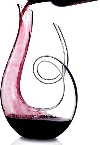 AIKASA - Decantador de vino de cristal, aireador de vino, 100% sin plomo, soplado a mano, decantador/jarra de vino tinto, proporciona una aireación intensa en un impresionante diseño en forma de U