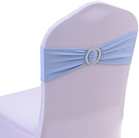 Uniquemystyle Spandex Chair Cover Stretch Band with Buckle Slider Sashes Bow Wedding Banquet product image