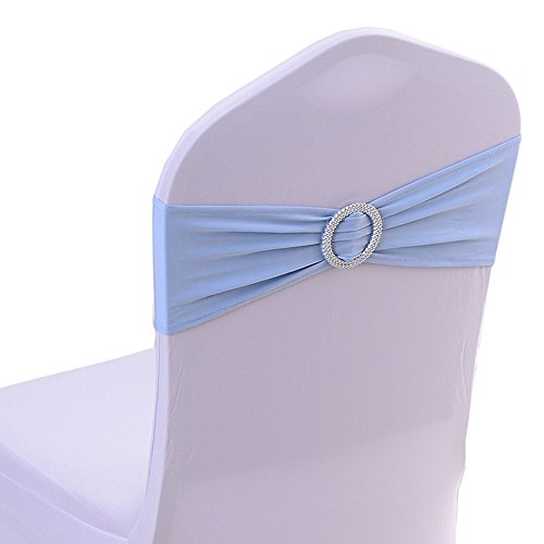 Spandex Chair Cover Stretch Band With Buckle Slider Sashes Bow Wedding Banquet Decoration 10PCS (Light Blue)