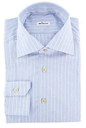 Kiton Blue Stripes Button Down Cutaway Collar Cotton Slim Fit Dress Shirt, Size Large 16.5
