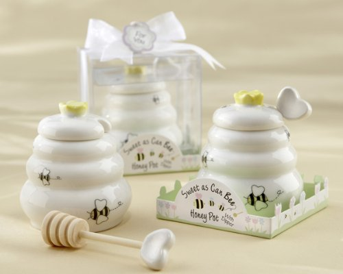 """Sweet As Can Bee"" Ceramic Honey Pot with Wooden Dipper - Baby Shower Gifts & Wedding Favors (Set of 12)"