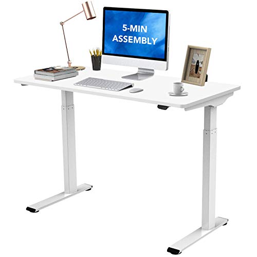 """Flexispot Quick Install Standing Desk EC9 Electric Height Adjustable Desk 48 x 24 Inches Whole-Piece Desk Board VICI(White Frame + 48"""" White Top)"""