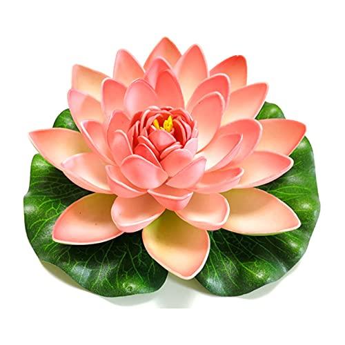 Tanant Künstliche schwimmende Lotusblume mit Seerosen Pad, lebensechte Verzierung Hausgarten Wasserpflanzen 18 cm Bastelpflanze Perfekt für Hausgarten Teichdekoration (Pink)