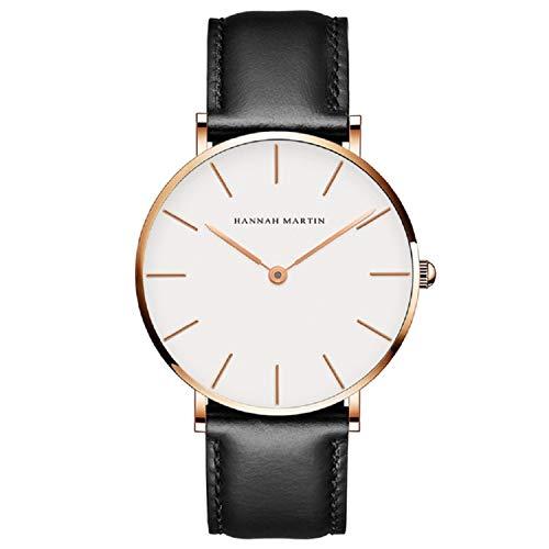 Hombre Relojes, L'ananas Estilo Minimalista Anolog Negocio Cuarzo Cuero de PU Parejas Amantes Relojes de Pulsera con Caja de Regalo Wristwatches (Negro+Oro Rosa)
