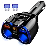 Car Charger, 150W 2-Socket Cigarette Lighter Splitter QC 3.0 Dual USB Ports 1 PD 18W USB C Fast Car Adapter with Separate Switch LED Voltmeter Replaceable 15A Fuse for GPS/Dash Cam/Phone/iPad
