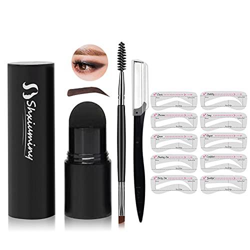 Augenbrauen Stempel Wiederverwendbares Makeup Brauenpuder,Augenbrauenstempel Kit Brauenstifte Stempel für Augenbrauen,Augenbrauenstempel Geeignet für Frauen Brauenpuder Kosmetikset Dark Brown