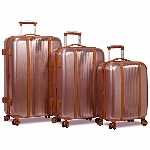 Dejuno Monroe New Generation 3-Piece Hardside Spinner TSA Lock Luggage Set, Rose Gold, One Size