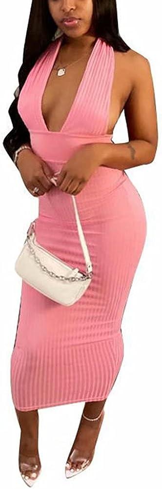 Women's Casual Halter V Neck Ribbed Knit Sleeveless Tank Tops Backeless Bodycon Bandage Midi Club Party Dress