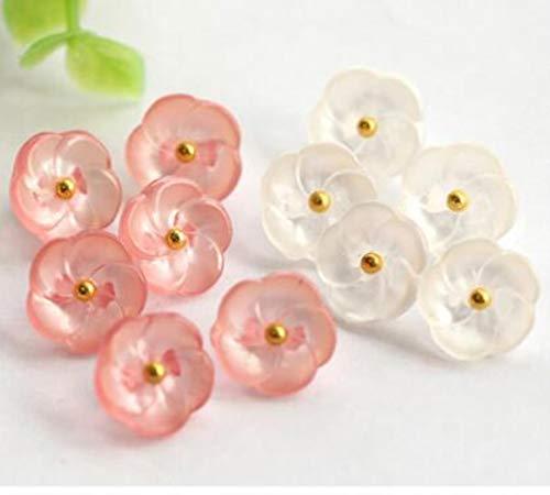 N / A 20 unidades de flores de moda de 11,5 mm blanco y rosa y negro botones de caña para coser ropa de niños, botones de ropa, color rosa