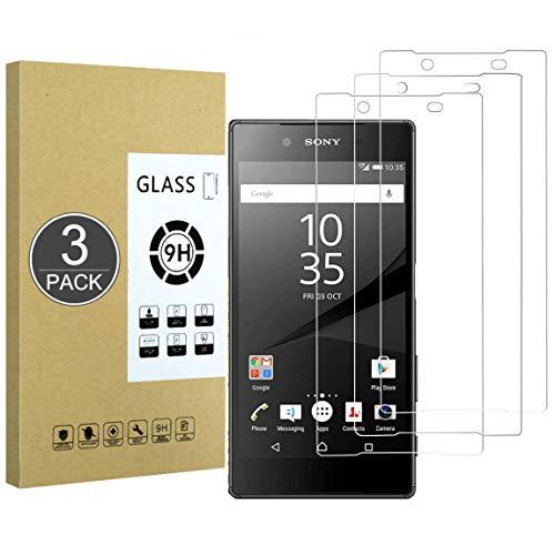 E-Hamii [3 Piezas Vidrio Templado Inastillable 9H Compatible con Sony Xperia Z5,Protector de Pantalla[Cristal HD Claro]de 0.33 mm para Sony Xperia Z5
