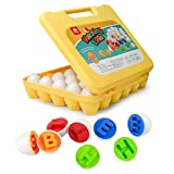 Eggs-ellent Toy: An instant hit and amazing improvement of matching eggs! 26 white eggs that opened to colorful interiors with embossed 26 uppercase letters. Inside 5 true colors are red, blue, yellow, orange, green. Match the alphabet by the interio...