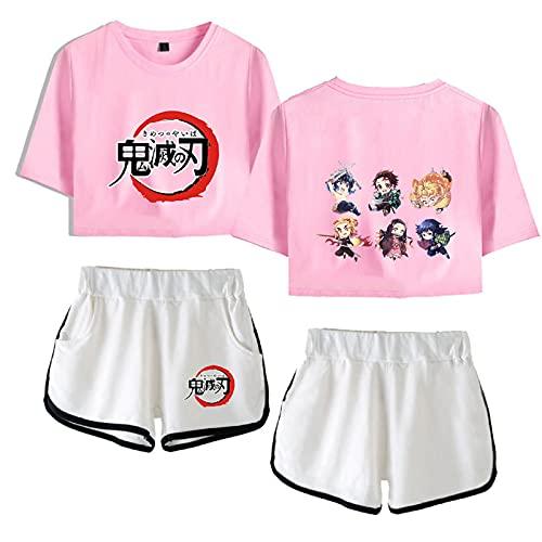 Yumenam Damen Demon Slayer Anime Crop Top und Shorts 2 Stück Anzug Kimetsu no Yaiba Gedruckt Sommer Kurzarm T-Shirts + Kurze Hose Pyjama-Set Trainingsanzüge Cosplay Outfits