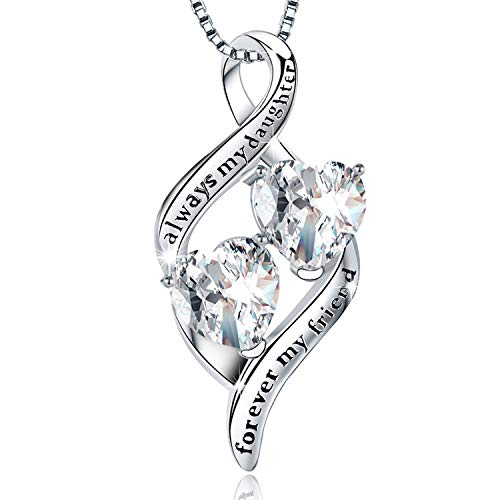 """MUATOGIML 925 Sterling Silver Always My Daughter Forever My Friend Double Love Heart Pendant Necklace, Mother Daughter Jewelry Gifts 18"""""""