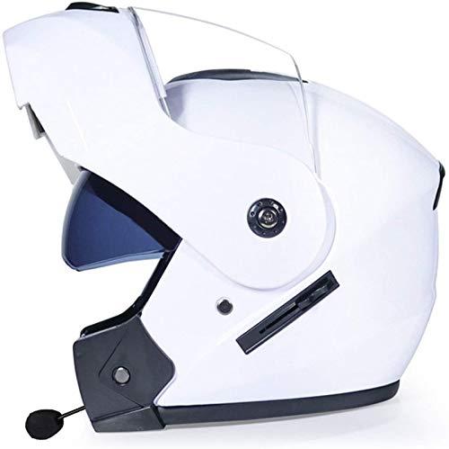 ZLYJ Casco De Motocicleta Modular con Bluetooth, Sin Ruido, con Respuesta Automática, Certificación FM/ECE, Casco Unisex U,S