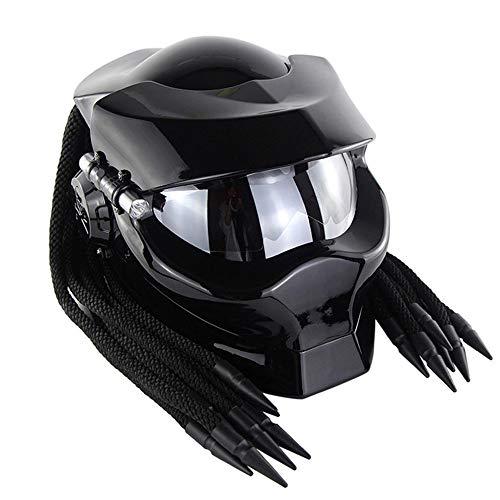 MTTK Hochklappbarer Predator Motocross Helm Motorrad Eisenblut Krieger Integralhelm Retro Motorrad Fahrradfahren modularer Helm,Brightblack,M