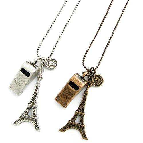 ネックレス エッフェル塔とホイッスルのロングチェーンネックレス コインと笛 アンティークカラーネックレスKN29065 アンティーク真鍮カラー