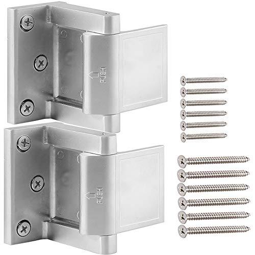 Home Security Door Lock,Child Proof Door Reinforcement Lock with Upgraded 3''Stainless Steel Screws for Inward Swinging Door, Privacy Door Latch Defend Home and Hotels(2Pack)