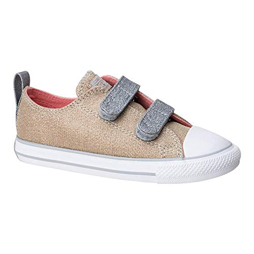 Converse Kids Chuck Taylor All Star 2v Sneaker (Pale Gold/Silver/White, 7 M US Toddler)