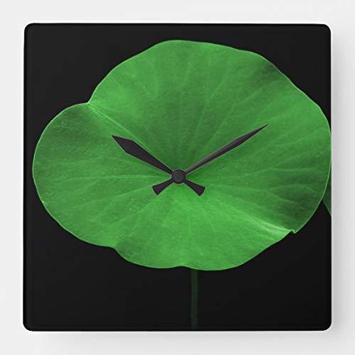 Kysd43Mill Lotus Leaves - Reloj de pared para pared, diseño de hojas de loto, estilo rústico, moderno, para pared, para sala de estar, cuarto de niños, 30,5 cm