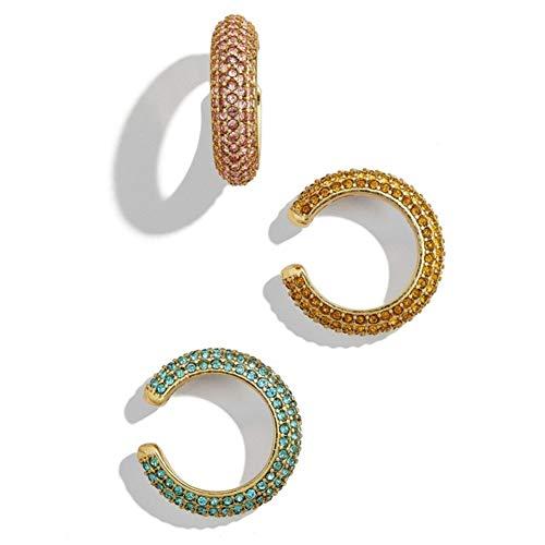 Orecchino da donna con polsini per orecchie senza piercing, pavé di orecchini in cartilagine con clip in oro cristallo per donne ragazze - Set di 3 pezzi (3 pezzi)