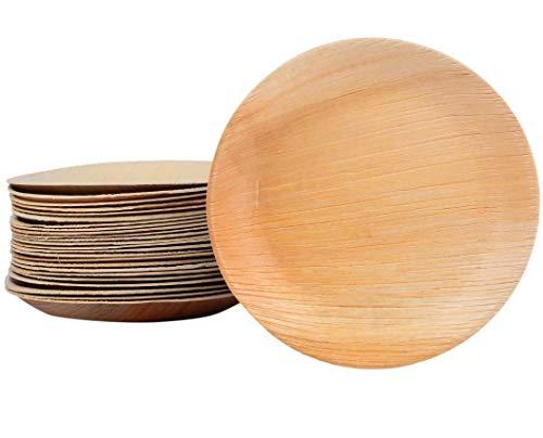 Palmblattteller 25/100/200 Stück rund Ø20 cm, Einwegteller aus Palmblatt 100% kompostierbar, umweltfreundlich stilvoll Palmblattgeschirr Set für BBQ, Party, Grillen Outdoor