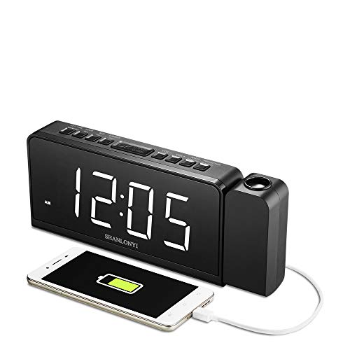 SHANLONYI Projection Alarm Clock Radio
