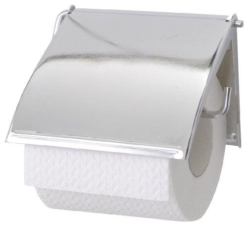 WENKO 18265100 Toilettenpapierhalter Cover - geschlossene Form, Stahl, 13.5 x 12 x 2.5 cm, Chrom