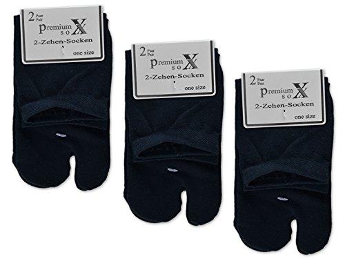 sockenkauf24 6 oder 12 Paar Zwei Zehensocken für Flip Flops Tabi Socken Damensocken (35-42/6 Paar, Schwarz)