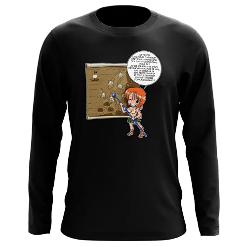 T-Shirt Manches Longues Noir Parodie One Piece - Nami - Les prévisions de Météo Pirate pour Le Prochain épisode ! (T-Shirt de qualité Premium de Taille L - imprimé en France)