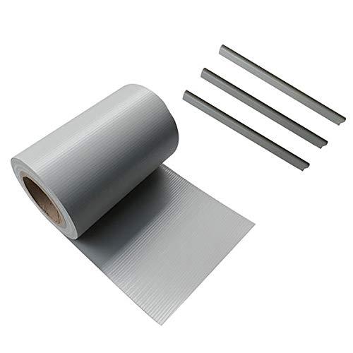Ventanara Zaun Sichtschutzstreifen PVC für Stabmattenzaun Zaunfolie Grau 19 cm x 40 m inklusive 25 Befestigungsclips