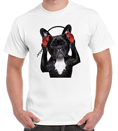Tribal T-Shirts francés Bulldog DJ–Camiseta para Hombre