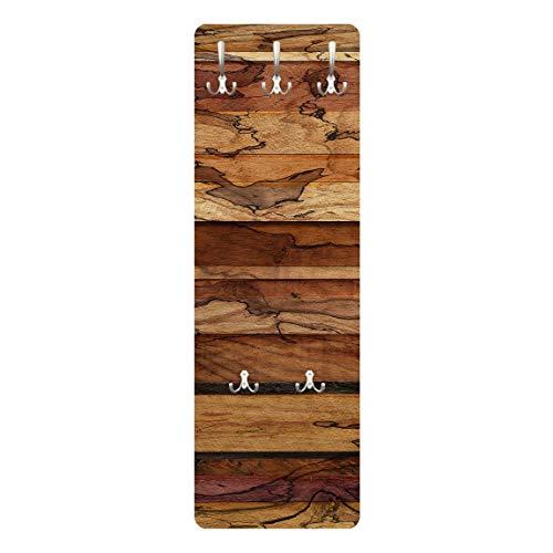 Bilderwelten Wandgarderobe + Haken Wandmontage Woody Flamed Holz Optik Rustikal Landhaus 139x46cm