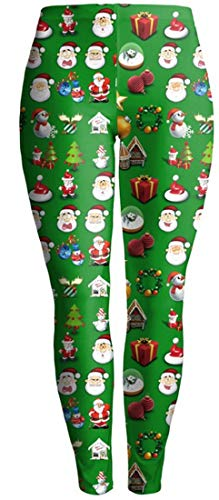 Women's Fashion Elastic Leggings Slim Fit Pants Elastic Waist Workout Special Style Fitness Running Pencil Pants Sweatpants (Color : Santa Claus, One Size : M)