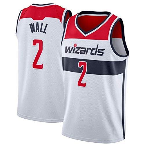 DXG NBA Washington Wizards #2 John Wall Camiseta Uniforme Uniforme Transpirable Secado rápido Sin Mangas Sport Mesh Vest Top,Blanco,XL