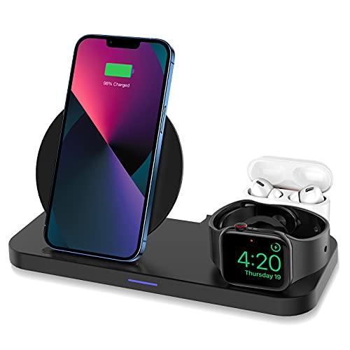 KKM Wireless Charger, 3in1 QI induktive Ladestation, Schnelles Kabelloses Ladegerät mit Fast Adapter, Kompatibel mit iPhone 13/12 Pro Max/12 mini/11/X, Apple Watch, AirPods Pro, Samsung S21 Ultra/S20
