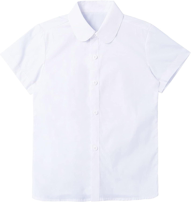Duoremi Kids Girls White Short Sleeve Lapel Collar Blouse Top Button Down Causal Baptism Uniform Shirt