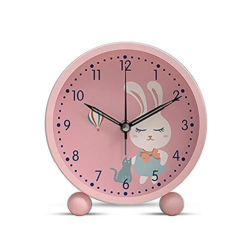 Sveglia per Bambini , Sveglia da Comodino Analogica Orologio Allarme Forte, 5 Pollici Silenzioso Senza Ticchettio Con Luce Notturna per Snooze Ragazza Bambini Coniglio (Rosa)