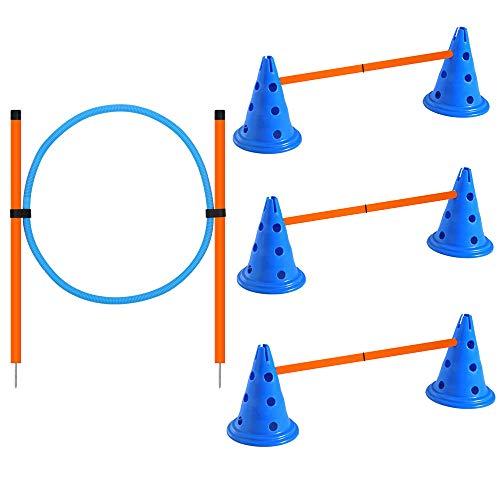 X XBEN Hund Agility Set, Agility-Ausrüstungs-Set für Hunde für Haustiere, Hunde, Outdoor-Spiele, Training, Training, ø 23 × 30 cm/Kegelhürden, ø 60 × cm/Stange, ø 60 cm/Ring, orange/Blaue