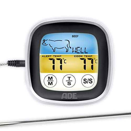 ADE Bratenthermometer BBQ 1600. Digitales Grill-Thermometer mit LCD Touch-Display, Messgabel aus Edelstahl. Elektronisches Ofenthermometer für den perfekten Garpunkt. Inkl. Batterien. Schwarz silber