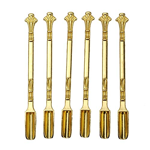 HUELE 6 Stück Gold Schnupftabak Löffel Mikrolöffel Spatel Medizin Löffel