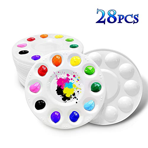 Hulameda 28 Pcs Paint Tray Palettes Plastic for Kids to Put Cupcake and Art Painting